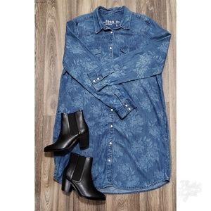 GAP FLORAL CHAMBRAY WESTERN SHIRT DRESS